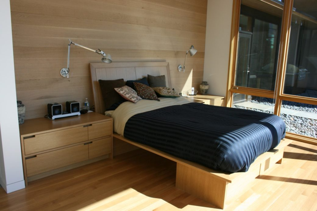 Custom platform bed with nightstands