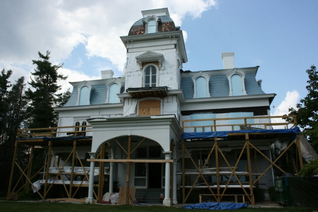 Front of main house under renovations