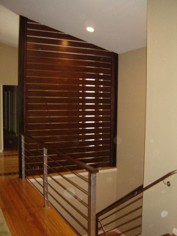 Walnut slatted accent wall