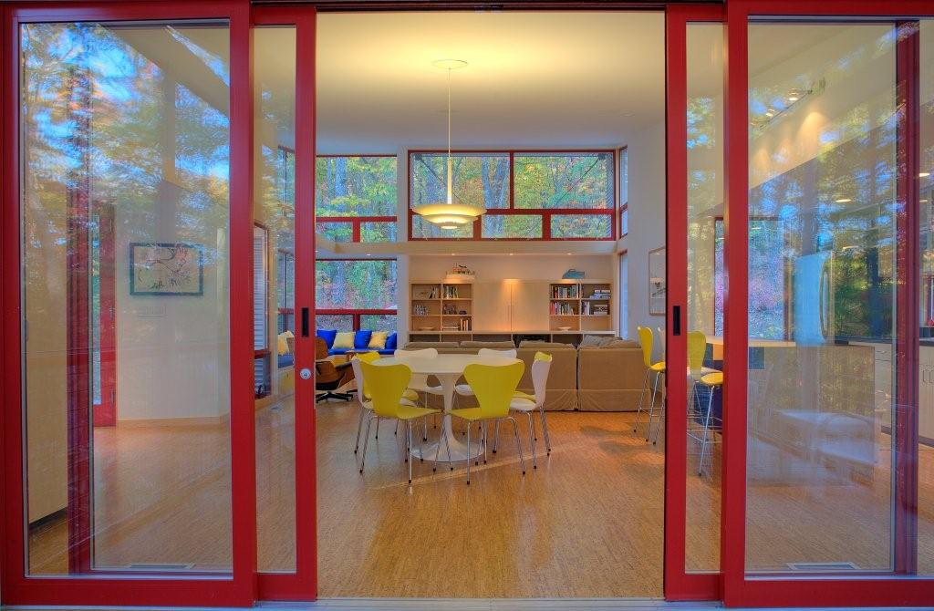 Looking back into the living area through the glass doors.