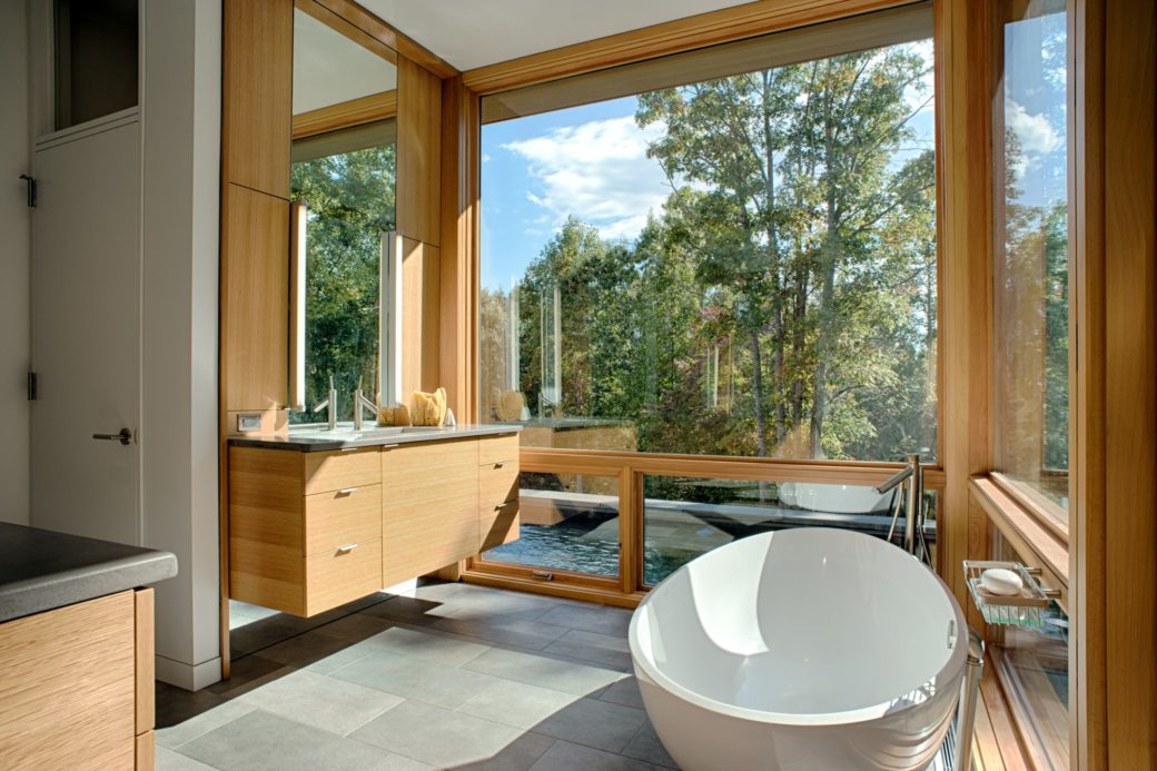 Floating bath vanity with built in medicine cabinets