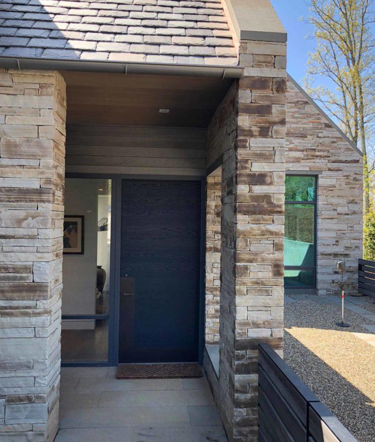 Modern Gray Exterior With Steel Beams: Gray Modern Exterior Entrance Door