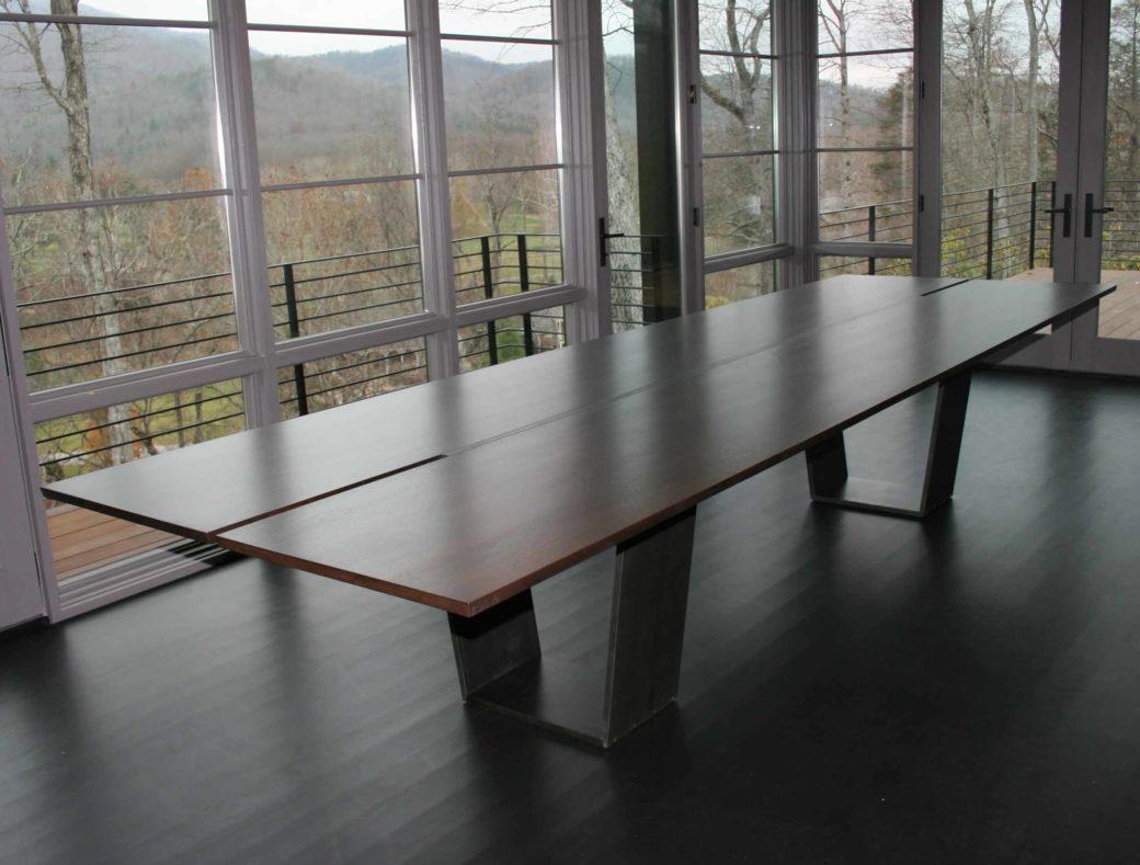 Steel and wood table custom furniture