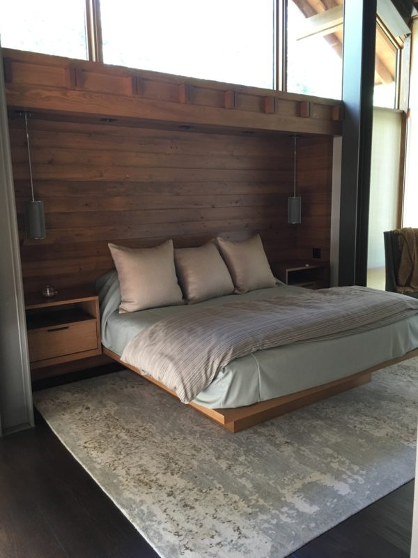 bed, headboard and bedside tables