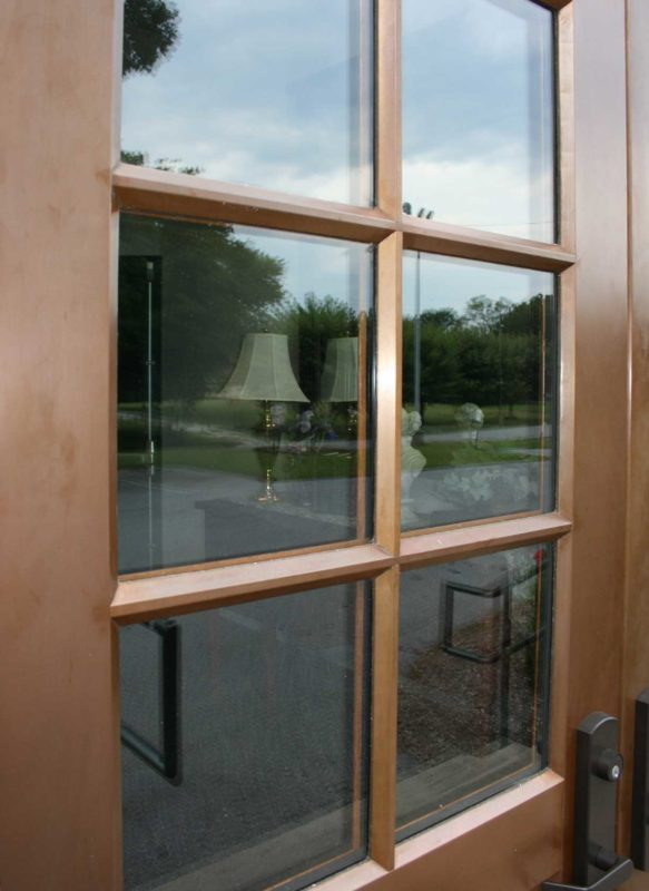 copper clad double door with 6 lights detail