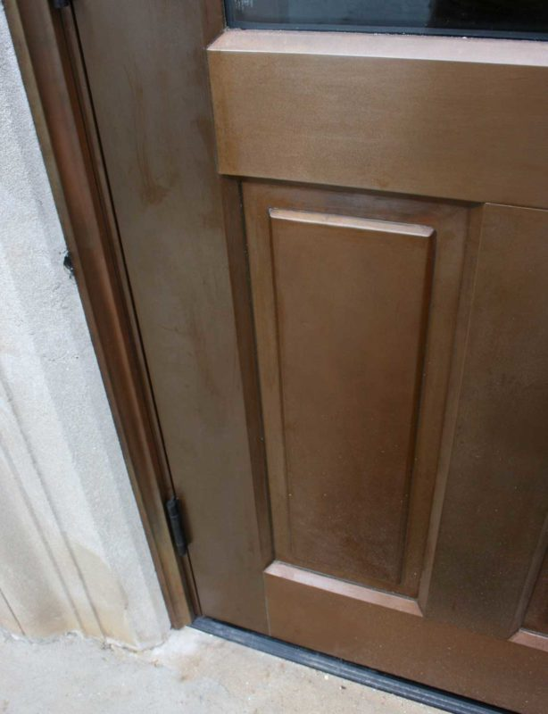 copper clad double door detail