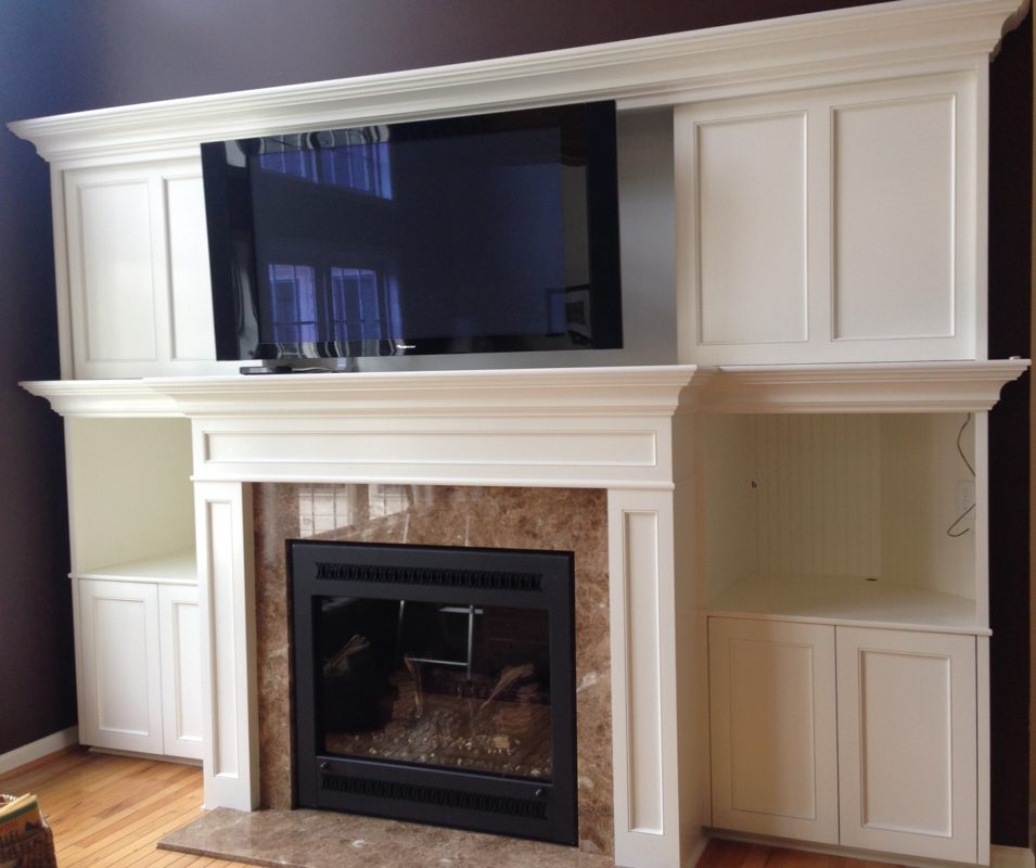 custom fireplace surround and entertainment center